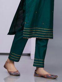 Emerald Green Silk Kurta with Pants - Set of 2 Silk Kurti Designs, Salwar Designs, Kurta Designs Women, Kurti Designs Party Wear, Blouse Designs, Neckline Designs, Salwar Pants, Kurta With Pants, Silk Pants