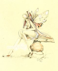 Another little faery.At this time watercolour is my favourites medium. Tattoo Hada, Fairy Silhouette, Fairy Drawings, Elves And Fairies, Unicorns And Mermaids, Drawing Reference Poses, Cover Tattoo, Fairy Dust, Fantasy Creatures