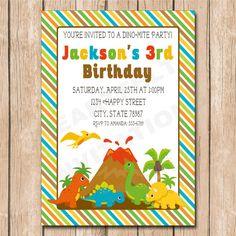 Dinosaur Birthday Invitation | Dino-mite, Tyrannosaurus, T-Rex, Brontosaurus, Triceratops, Pterodactyl - 1.00 each printed or 10.00 DIY file
