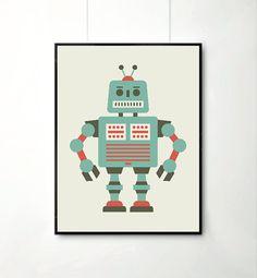Affiche Garcon Robot : Affiche Retro Robot Décoration pour enfants ...