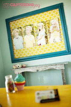 A great use of a large #frame to display family pictures!