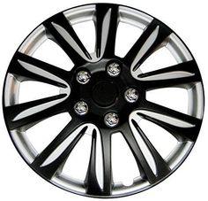 Wheel Hubcaps, Black Label Premier Universal Plastic 15 Inch Hubcaps Set Of 4