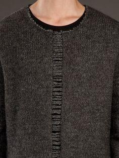 Far fetch: men's frayed knit sweater