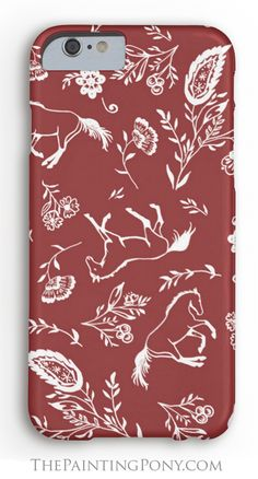 Horse Lover Phone Case! Equestrian themed cell phone cases with a fun red and white country floral paisley pattern with galloping horses and flowers printed all over. Great for any horse lover who loves horses and ponies and horseback riding cowgirl style.