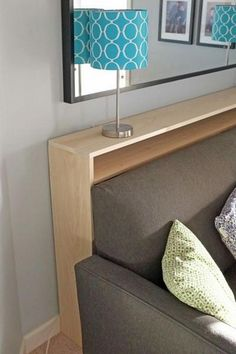 DIY Sofa Table - narrow table with electrical outlets behind couch instead of a . - DIY Sofa Table – narrow table with electrical outlets behind couch instead of a coffee table in f - Small Living Rooms, Home Living Room, Living Room Decor, Diy Living Room Furniture, Apartment Furniture, Diy Sofa Table, Sofa Tables, Coffee Tables, Entry Tables