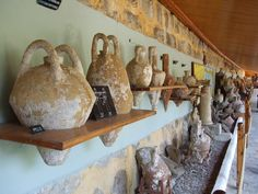 Amphoras recovered from an ancient sunken ship in the Bodrum Museum of Underwater Archaeology
