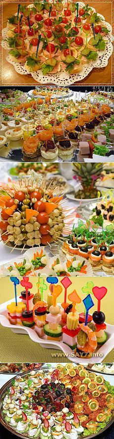 In total for a buffet reception! (popular recipes of a canape) // Маргарита Маланчук Snacks Für Party, Appetizers For Party, Appetizer Recipes, Party Dishes, Food Displays, Food Platters, Food Decoration, Buffets, Appetisers