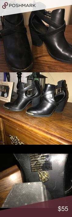 Rock and Republic black boots. Gold buckles. These rock and Republic black boots with gold buckles are awesome. Here for fall where and with jeans or dress pants. Rock & Republic Shoes Ankle Boots & Booties