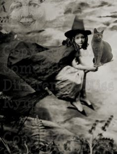 Little Girl Witch Halloween altered photograph by OldieButGoodie, $2.50