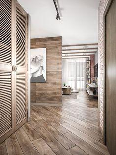 Так как хозяйка квартиры обожает эко стиль и натуральные материалы, дизайнер интерьера, предусмотрела достаточное количество дерева в интерьере. Деревом оформлены как пол, так и всевозможные перегородки и, конечно же - шкафы и другие системы хранения