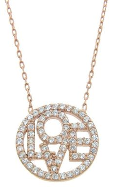 Rose Gold Pave Love Necklace ♥