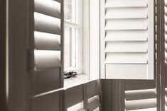 Tier on Tier Shutters Wooden Window Shutters, Wooden Windows, Custom Windows, Georgian Windows, Georgian Mansion, Tall Windows, Neutral Paint, Window Dressings, Natural Wood