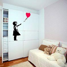 Amazon.com - ( 47'' x 32'') Banksy Vinyl Wall Decal Girl with Heart Balloon / Street Graffiti Art Decor Sticker / Home Removable DIY Mural + Free Random Decal Gift! -