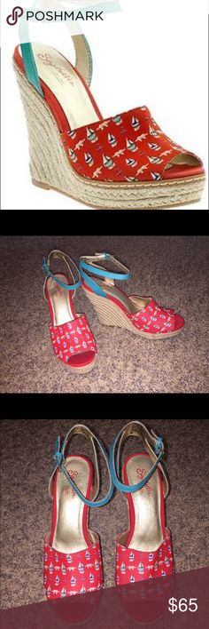 "Seychelles Ankle Strap Wedge Sandals NWOB Seychelles ankle strap wedge sandals NWOB. Super cute nautical theme fabric in red with blue and green sailboats. Teal adjustable ankle straps. 1"" platform and 4.5"" heel. Size 9.5. Bought at Anthropologie. Seychelles Shoes Wedges"