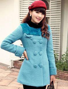Blue Cotton Blend Fur Collar Long Sleeve Bowknot Jacket & Coat#ShopSimple