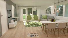 3D -stailaus ja - sisustussuunnittelu ennakkomarkkinoinnissa olevaan uudiskohteeseen/ limenvihreä olohuone, living room / Kone ja Rakennuspalvelu Kara Oy, Paimio/ 3D-sisustus Tilanna