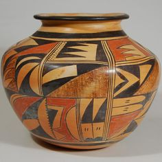 Hopi Polychrome Small Storage Jar. Stippling, used by many members of the Nampeyo family, appears in the brown  section of each design panel.