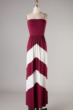 Garnet,&,White,Chevron,Gameday,Maxi,Garnet & White Gameday Maxi Dress