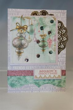 We are back to Kaisercraft Christmas wishes paper collection,and I did something a little different here. The top card is quite simple,with just a little layering ( the gold doily is fussy cut from… Christmas Cards 2017, Xmas Cards, Greeting Cards, Card Tags, I Card, Mistletoe, Christmas Wishes, Card Making, Paper Crafts