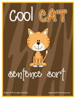Cool Cat Sentences Activity: Sort and organize the different types of sentences (Telling Sentence, Asking Sentence, Exciting Sentence) with the matching sentence strip card. Information: Sentences, Sentence Sort, Sentence Activity, Sentences Center