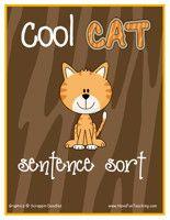 Cool Cat Sentences Activity: Sort and organize the different types of sentences (Telling Sentence, Asking Sentence, Exciting Sentence) with the matching sentence strip card. Information: Sentences, Sentence Sort, Sentence Activity, Sentences Center