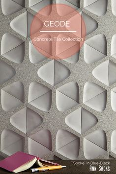 ANN SACKS Geode concrete tile collection by Andy Fleishman. Shown: Spoke in Blue-Black