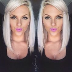 All one length razor edged inverted bob. Like this but 4 inches shorter.
