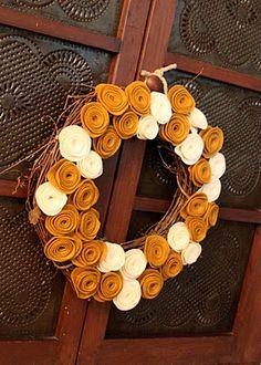 Grapevine Wreath with Hand-Cut Felt Rosettes, by kristen elise designs