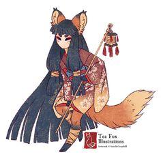 By Tea Kitsune (teakitsune) Art And Illustration, Fuchs Illustration, Fantasy Character Design, Character Design Inspiration, Character Art, Japanese Folklore, Japanese Art, Fantasy Kunst, Fantasy Art