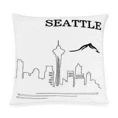 Passport Postcard Seattle Square Throw Pillow in Black/White