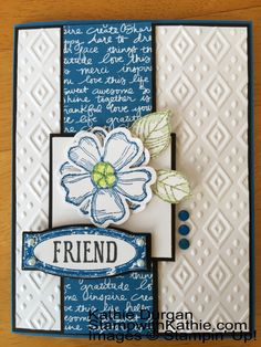 hand crafted card ... a pretty card for a friend ... embossing folder texture ... stamped, punched and popped up flower ... blue and white with black ink and mats .. Stampin' Up!