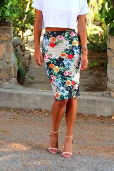 Floral skirt crop TShirt and nude sandels