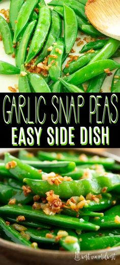 Crispy caramelized garlic sugar snap peas can be whipped up in about 20 minutes!… Crispy caramelized garlic sugar snap peas can be whipped up in about 20 minutes! Easy side dish recipe for weeknight dinners or special occasions. Chinese Side Dishes, Side Dishes For Fish, Healthy Side Dishes, Side Dishes Easy, Chinese Food, Easy Thanksgiving Side Dishes, Thanksgiving Vegetables, Pea Recipes, Side Dish Recipes