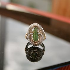 size 7 twin tourmaline heady wire wrapped ring/ by TendaiDesigns