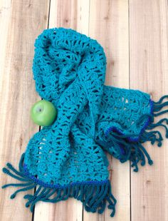Turquoise Crochet Shawl Lace Scarf Wrap by SuninVIRGOCreations