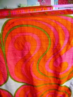 vintage curtain fabric from finland orange red pink