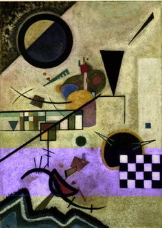 "Contrasting Sounds, 1924. Kandinsky had condition known as Sound-Color Synesthesia,  which means that when he saw a color, he also heard sound, and vv, associating each color with a sound. This fact his belief that music & art could be interrelated. ""I applied streaks and blobs of color onto the canvas with a palette knife and I made them sing with all the intensity I could..."" The painting above is entitled Contrasting Sounds, which to a person without Synesthesia would be contrasting…"