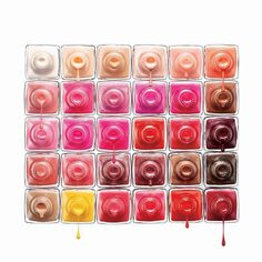 cette palettes de vernis à ongles m'évoque une salade de fruits rouges plein de couleurs et très fraiche !