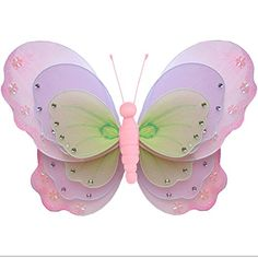Butterfly Decorations 18 XLarge Pink Purple  Green Triple Layered Nylon Hanging Butterflies Decorate for a Baby Nursery Bedroom Girls Room Ceiling Wall Decor Wedding Birthday Party Bridal Baby Shower Bathroom Kids Childrens Butterfly Decoration 3D Art Craft >>> Be sure to check out this awesome product.