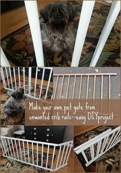 Easy DIY pet gate constructed from unwanted crib rails. Tutorial by My Repurposed Life.