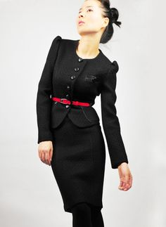 Black tweed jacket with lamb leather  Style 14 by EllaLai on Etsy