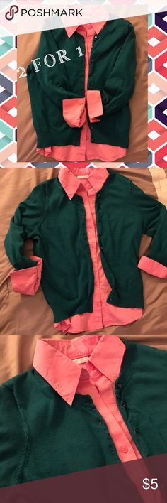 """Coral button down + teal sweater 2 for 1 deal 🍉 2 FOR 1 DEAL🍉Such a great color combo. Worn together and got so many compliments! The button down shirt is a size M but is """"Stretch"""" version. 3rd pic shows the stretch of the sleeve as well. The sweater (Size L) is from a boutique not sure of brand. Both are 3/4 sleeve. PAIR with a statement necklace and skinny jeans! FREE GIFT WITH EVERY PURCHASE. New York & Company Tops Button Down Shirts"""