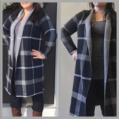 "$35 FLASH SALE!!! ✨ Navy & Gray Plaid New arrival! Cute & comfy. New w/ tags, in package. I own one and it's gorgeous. Compliments all day. Thick & cozy - replaces a jacket! One size fits most. Photos depict a 5'2"" woman, size LG and a 5'8"" woman, size SM wearing same sized cardigan. See measurements. Photos courtesy of Tea n Cup.                                   60% Cotton, 40% Acrylic Approximately 40"" long 27"" Sleeve length One Size Fits Most (S-L) NWT directly from vendor ❤️See my Love…"