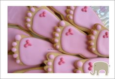 girl baby shower ideas | These sugar cookies are in the shape of a tiny foot. You can buy these ...