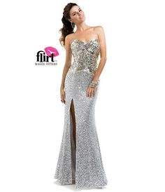 Flirt by Maggie Sottero 2014 Prom Dresses - Silver Light Gold Sequin Strapless Sheath Dress - Unique Vintage - Prom dresses, retro dresses, retro swimsuits.