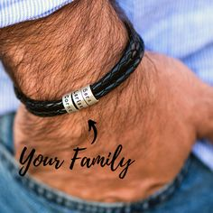 Men Braided Leather Bracelet with Small Custom Beads in Silver Gifts For Hubby, Daddy Gifts, Fathers Day Gifts, Cute Gifts, Great Gifts, Unique Gifts, Little Presents, Braided Leather, Creative Gifts