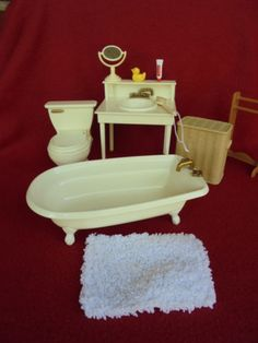 Madeline Eden 10 Pc Bathroom Set W Accessories . Plastic DollHouse  FurnitureDoll ...