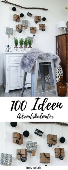 Advent calendar collection of ideas 2015 Linkparty - lady-stil.de - Make over 100 ideas on the subject of advent calendars at a glance! Christmas Dishes, Christmas Mood, Xmas, Christmas Decor, Christmas Calendar, Diy Advent Calendar, Advent Calendars, White Wall Paint, Farmhouse Style Decorating