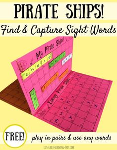 Sight Word Pirate Ships Sink your enemy's sight word pirate ships with this free board game!Sink your enemy's sight word pirate ships with this free board game! Teaching Sight Words, Sight Word Practice, Sight Word Games, Sight Word Centers, Free Word Games, Word Work Centers, 4th Grade Sight Words, Spelling Games For Kids, Word Work Games
