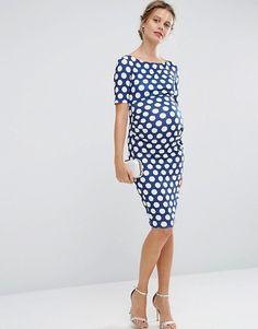 ASOS Maternity   ASOS Maternity Bardot Dress with Half Sleeve in Polka Dot